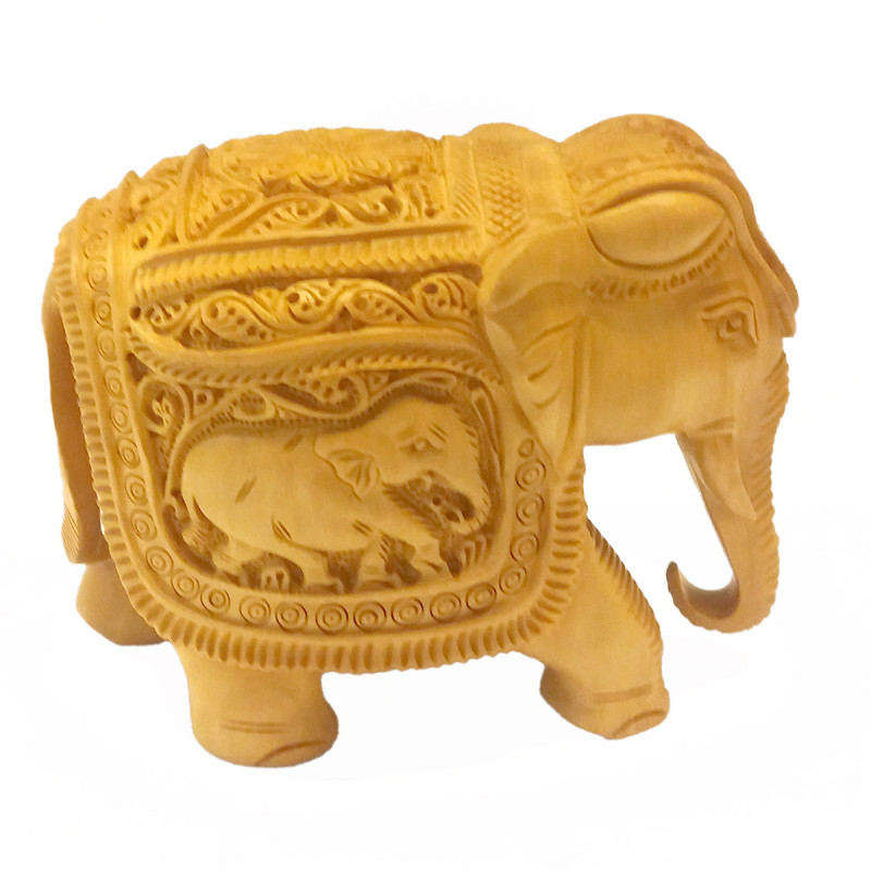 KADAM WOOD ELEPHANT DEEP CARVED 5 INCH