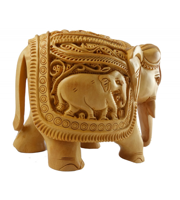 KADAM WOOD ELEPHANT DEEP CARVED 5 INCH