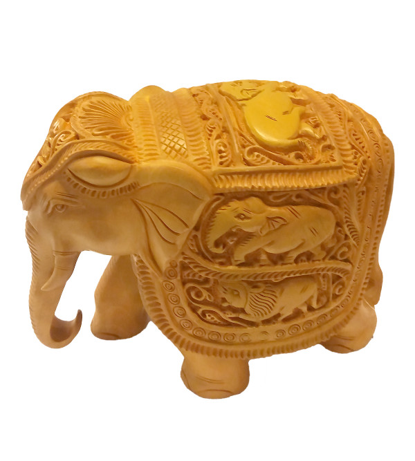 KADAM WOOD ELEPHANT DEEP CARVED 6 INCH