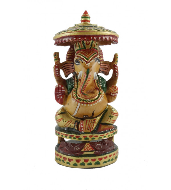 HANDICRAFT GOD FIGURE GANESHA SITTING FINE CARVED KADAM WOOD 4 INCH