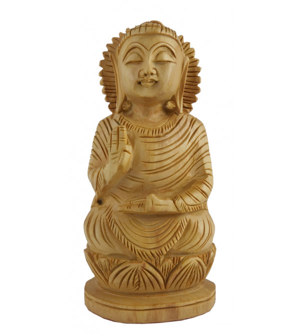 HANDICRAFT GOD FIGURE SITTING BUDHHA FINE CARVED KADAM WOOD 5 INCH
