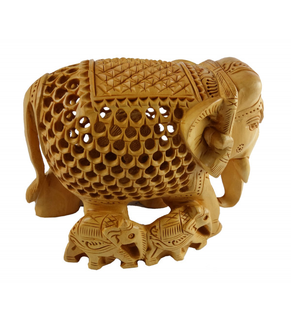 HANDICRAFT ELEPHANT UNDERCUT WITH BABY KADAM WOOD 4 INCH