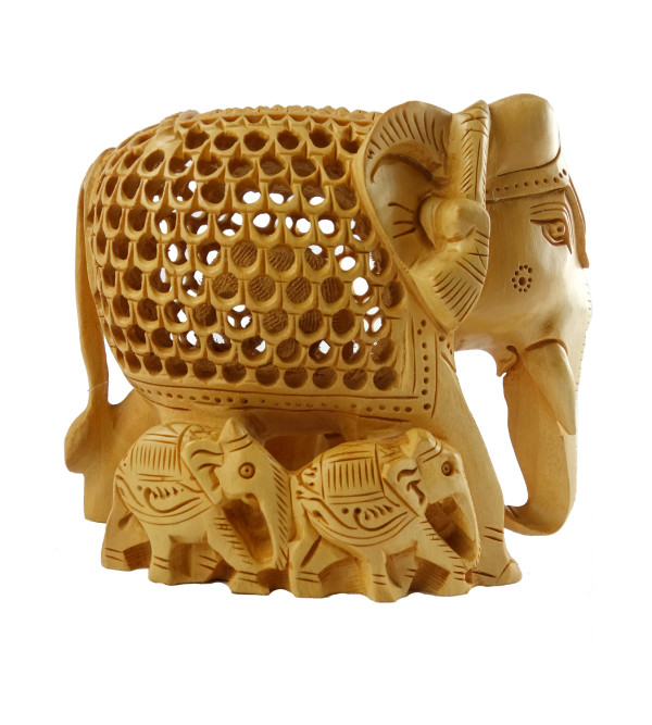 HANDICRAFT ELEPHANT UNDERCUT WITH BABY KADAM WOOD 5 INCH
