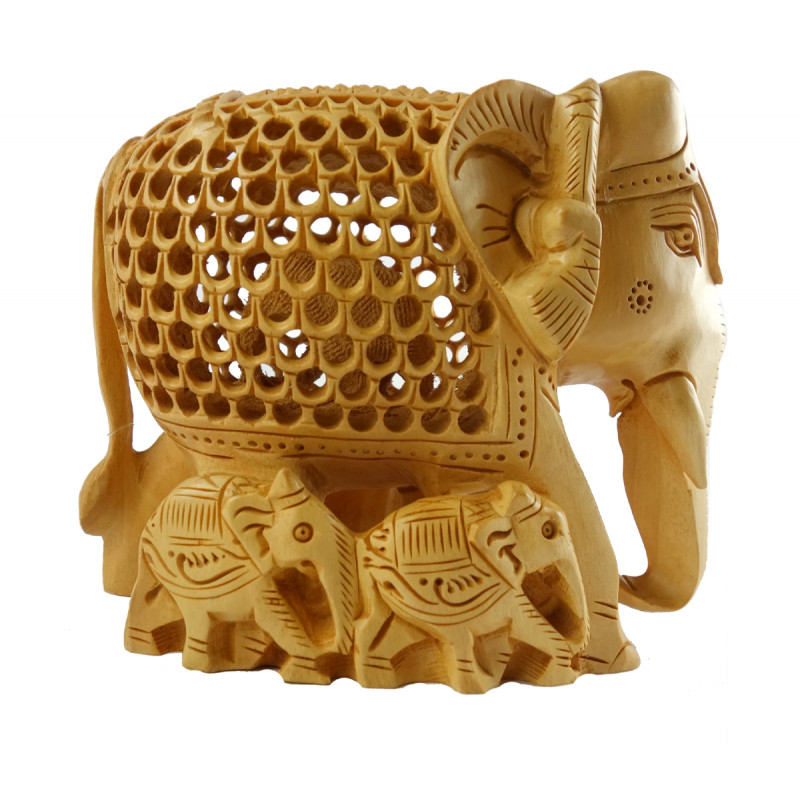 HANDICRAFT ELEPHANT UNDERCUT WITH BABY KADAM WOOD 5 INCH