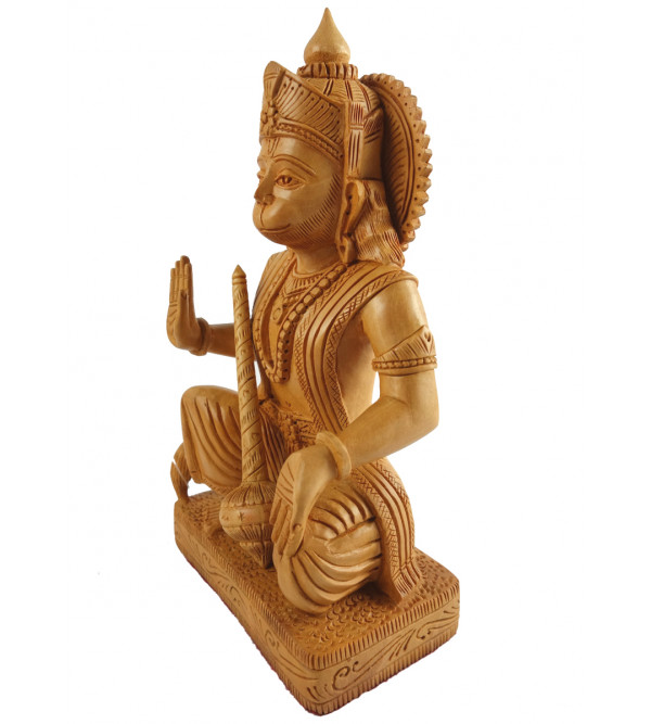 HANDICRAFT ASSORTED GOD FIGURE SITTING FINE CARVED KADAM WOOD 6 INCH
