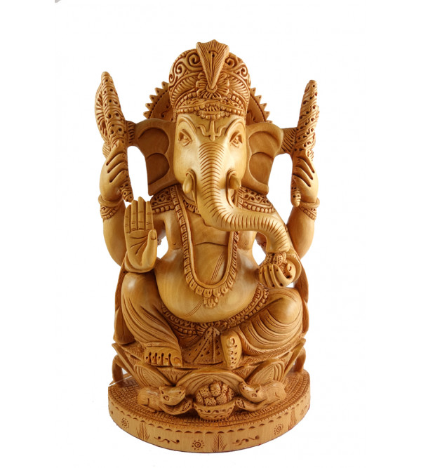 HANDICRAFT ASSORTED GOD FIGURE SITTING FINE CARVED KADAM WOOD 8 INCH