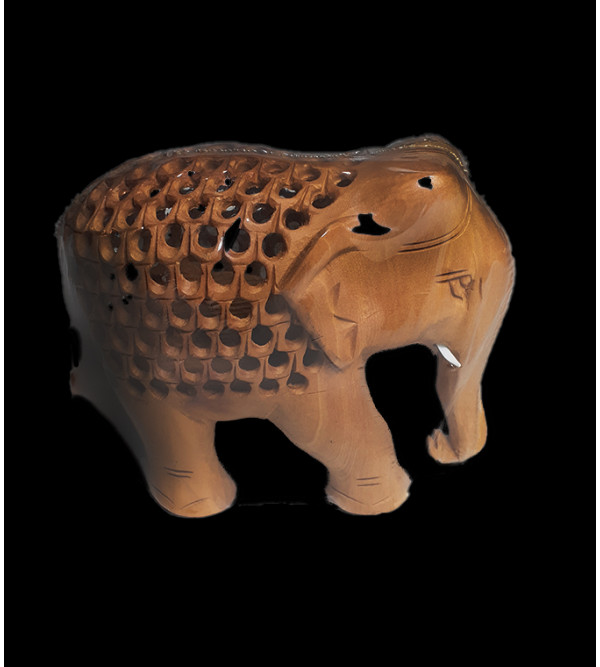 Wooden Handcrafted Carved Elephant with Undercut Design