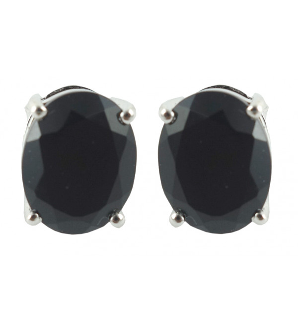 HANDICRAFT EARRING  SILVER GARNET BLACK  STONE