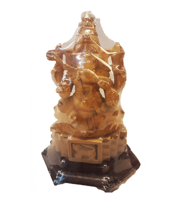 Sandalwood Handcrafted Carved Ganesha on Lotus ( Kamal )