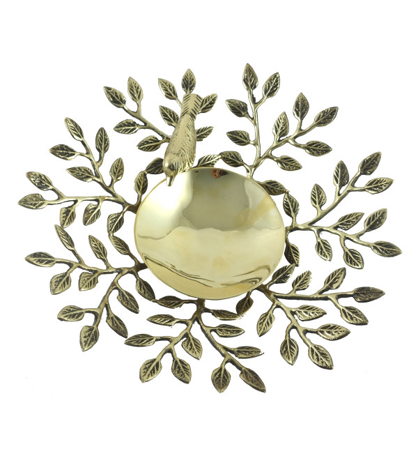 HANDICRAFT NORTH INDIAN BRASS LEAVES TRAY 9 INCH