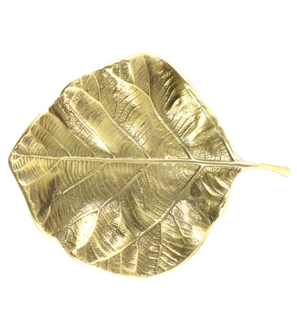 HANDICRAFT NORTH INDIAN BRASS LEAF TRAY 6 INCH