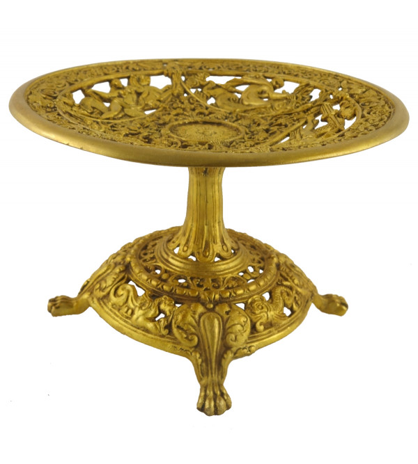 HANDICRAFT NORTH INDIAN BRASS FRUIT TRAY 4 INCH