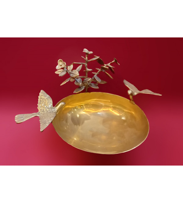Bowl With Birds Handcrafted In Brass