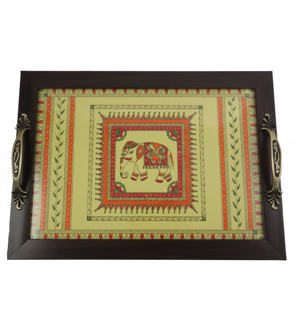 HANDICRAFT TRAY WITH 4 COASTERS PAINTED