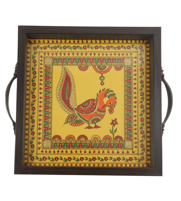 HANDICRAFT WOODEN TEA TRAY 9X9 INCH