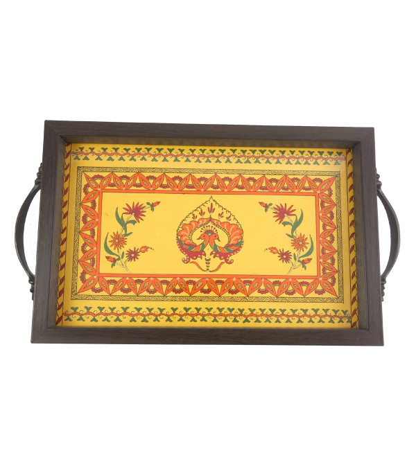 HANDICRAFT WOODEN TEA TRAY 6.5X10.5 INCH