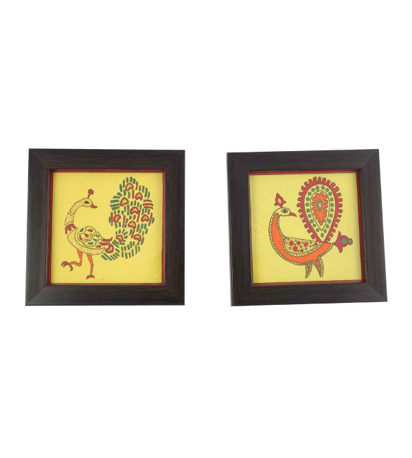 HANDICRAFT 2 PCS COASTER SET PAINTED WOOD