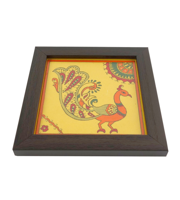 HANDICRAFT COASTER 4.5X4.5 INCH PAINTED WOOD