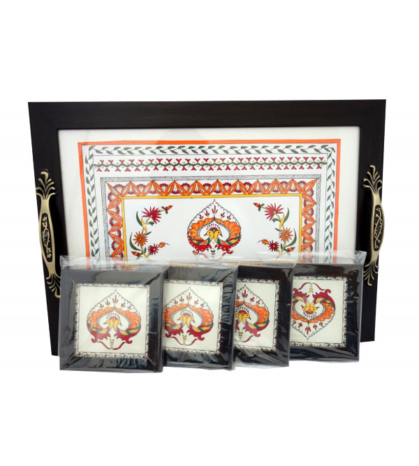 HANDICRAFT HAND PAINTED TRAY WITH 4 COASTERS ASSORTED DESIGNS