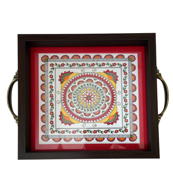 Wooden Hand Painted Tray Size 9X9 Inches