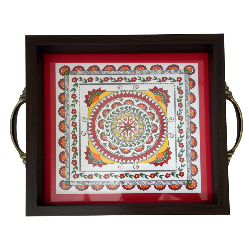 Handicraft Wooden Hand Painted Tray 9x9 Inch Assorted Designs
