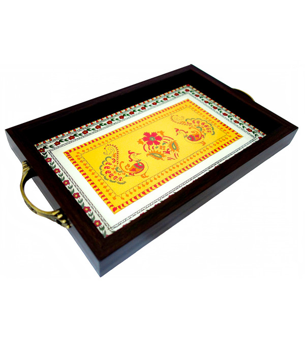 Handicraft Wooden Hand Painted Tray 6.5X10.5 INCH Assorted Designs