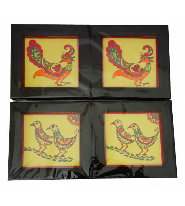 HANDICRAFT 2 PCS COASTER SET PAINTED WOOD ASSORTED DESIGNS