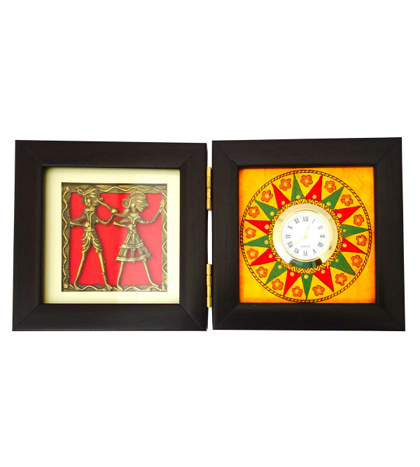 HANDICRAFT WOODEN PAINTED TABLE WATCH ASSORTED DESIGNS