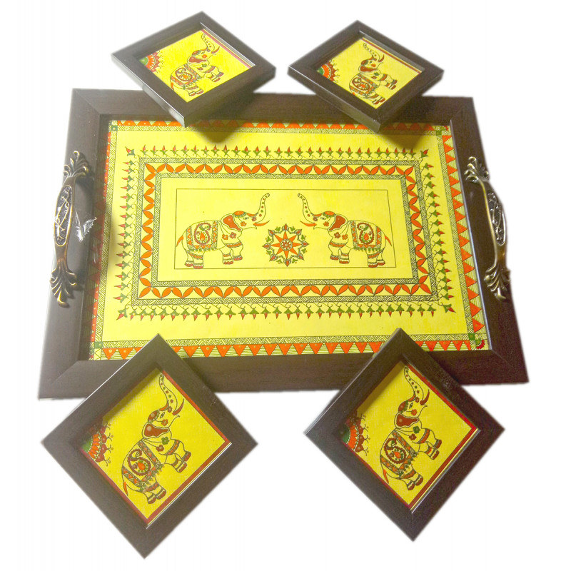 Tray With Coaster Set Handcrafted In Wood With Assorted Colours