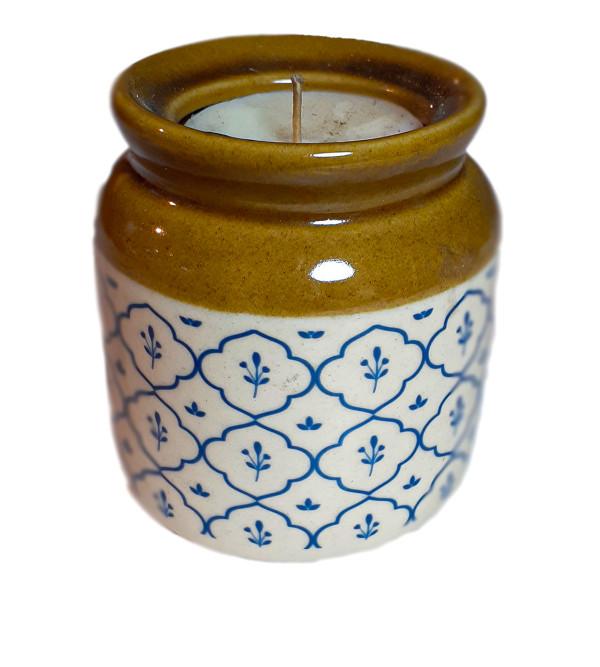 Khurja Pottery Candle Jar Size 5 Inch