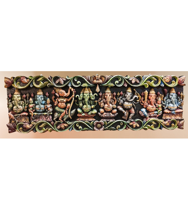 24X3X72 INCH ASHT GANESHA PANEL PAINTED IN NEEM WOOD