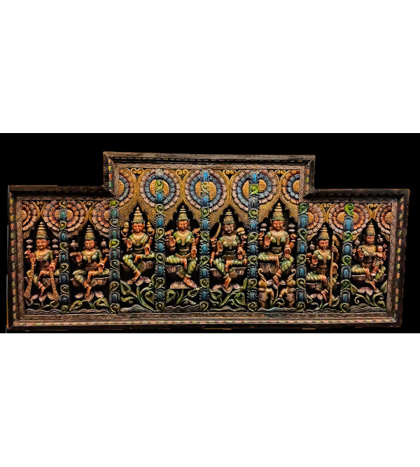 33X4X72 INCH NEEM WOOD ASHTALAXMI  PANEL PAINTED
