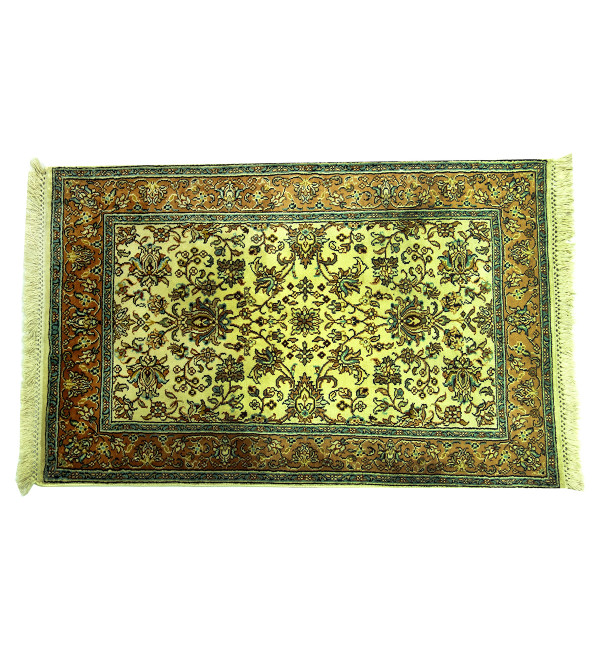 Handicraft Kashmiri Cotton Silk Ivory Base Carpet 2X3 Ft