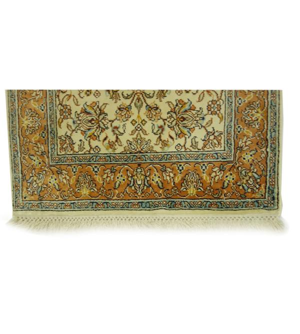 Handicraft Kashmiri Cotton Silk Ivory Base Carpet 2X3 Ft