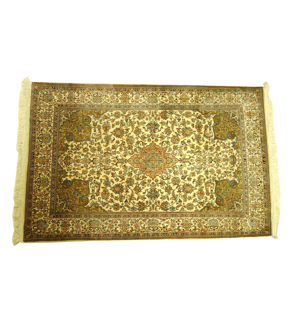 Handicraft Kasmir Cotton Silk Ivory Base Carpets 2.5x4 Ft