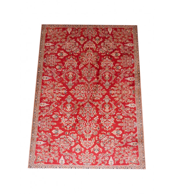 Kashmir Carpet Hand-knotted Silk x Cotton Size 4ftx6ft