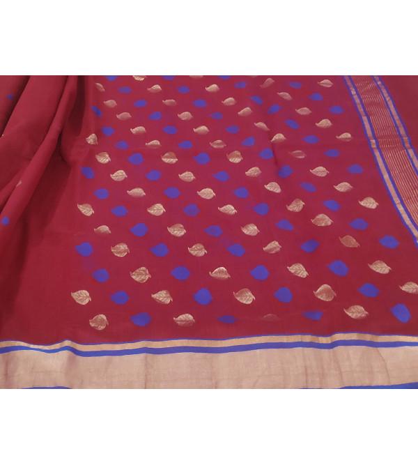 Chanderi Silk Hand Woven Zari Saree Without Blouse