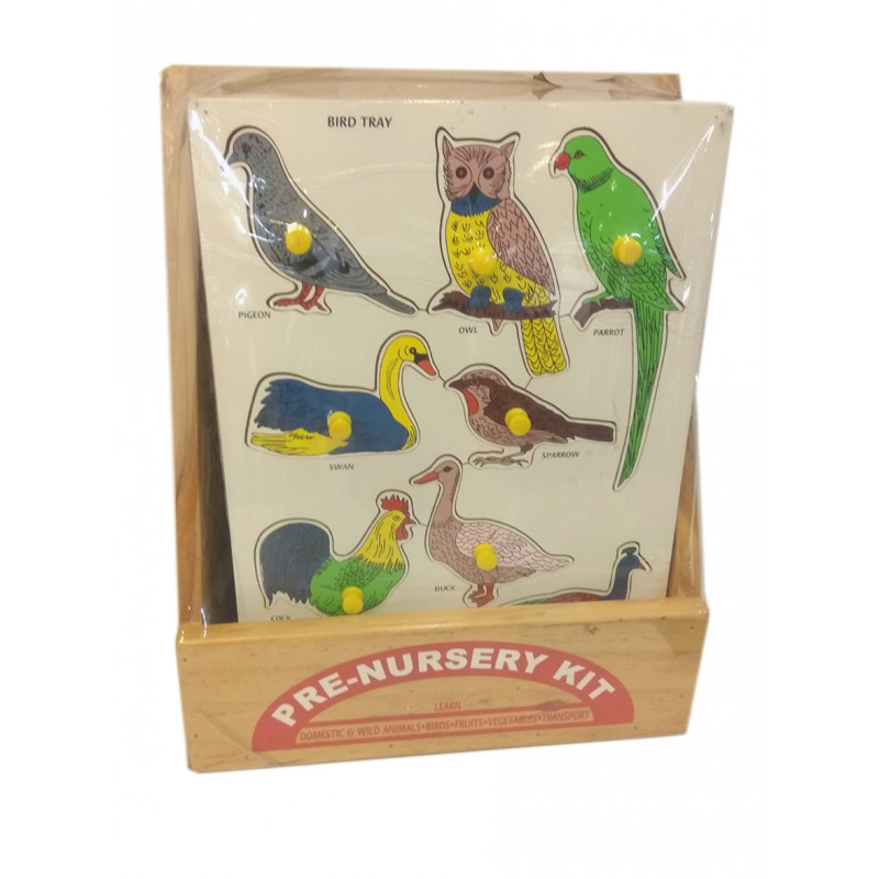 Education Toy Wooden Animal And Bird With Knob