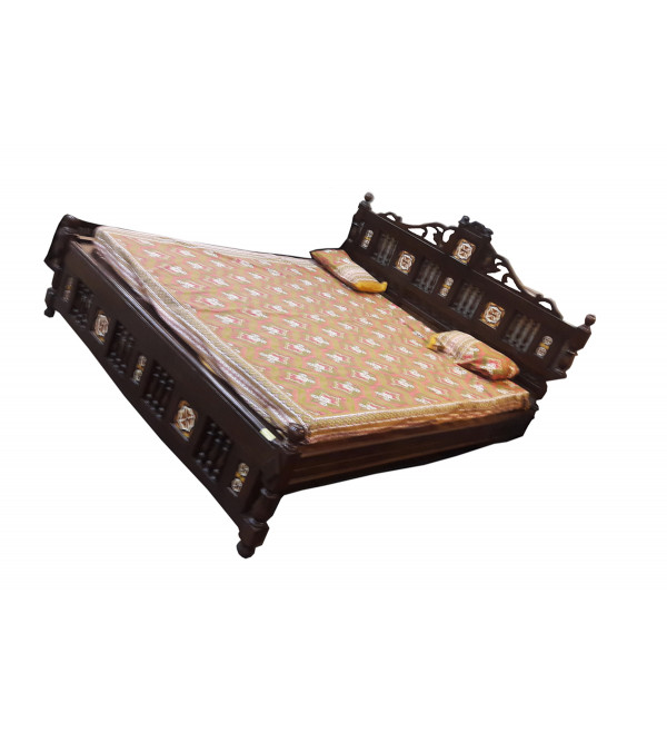 BED DOUBLE WITH TILE WORK TEAK WOOD S-82.5x77x51 inch