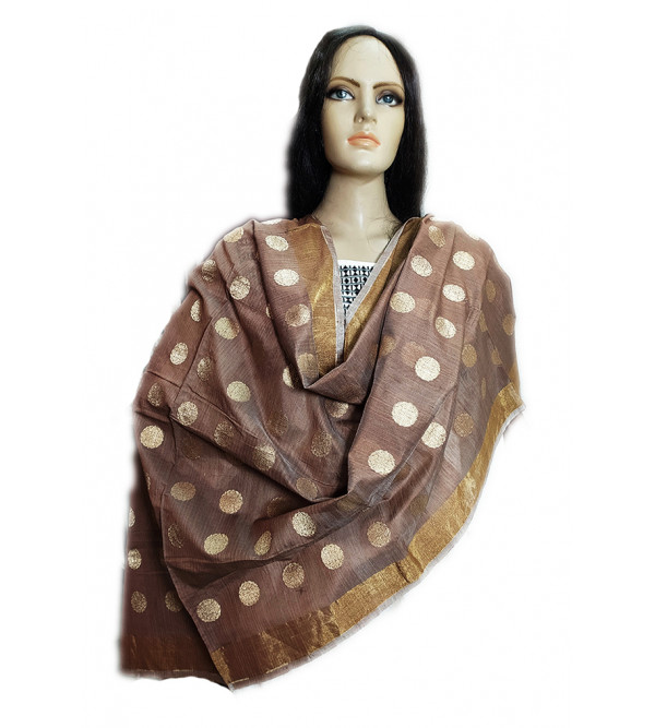 Handwoven Zari Katan Silk  Chanderi Dupatta From Banaras