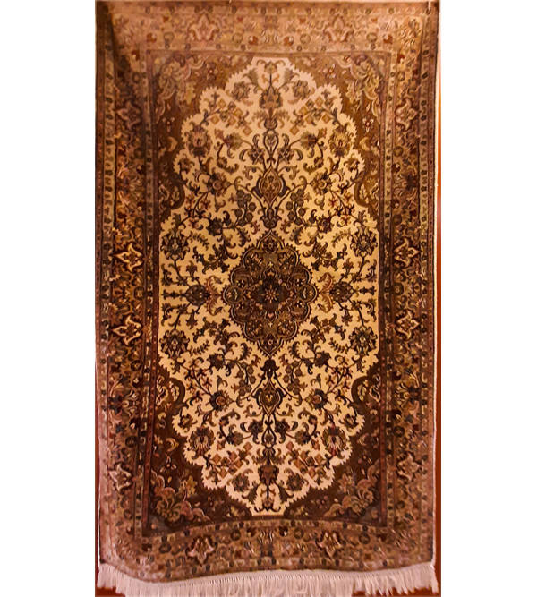 Kashmir Carpet Hand-knotted Silk x Silk Size 2.5ftx4.25ft
