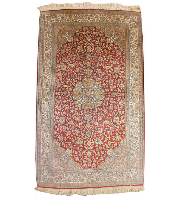 Kashmir Carpet Hand-knotted Silk x Silk Size 3ftx5ft