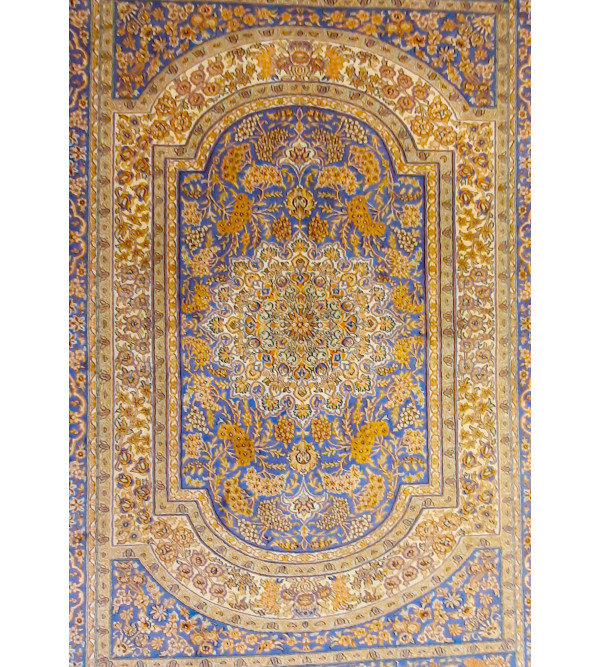 Kashmir Carpet Hand-knotted Silk x Silk Size 3.5ftx5ft