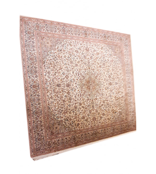 Kashmir Carpet Handknotted Silk/Cotton, 7.3x7.1 ft, 18x18 knot. assorted design