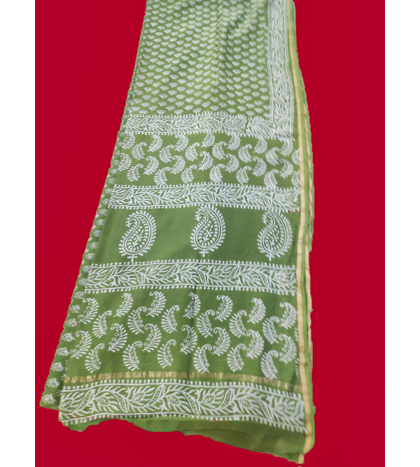 Printed Chanderi Silk Hand Woven Saree With Blouse