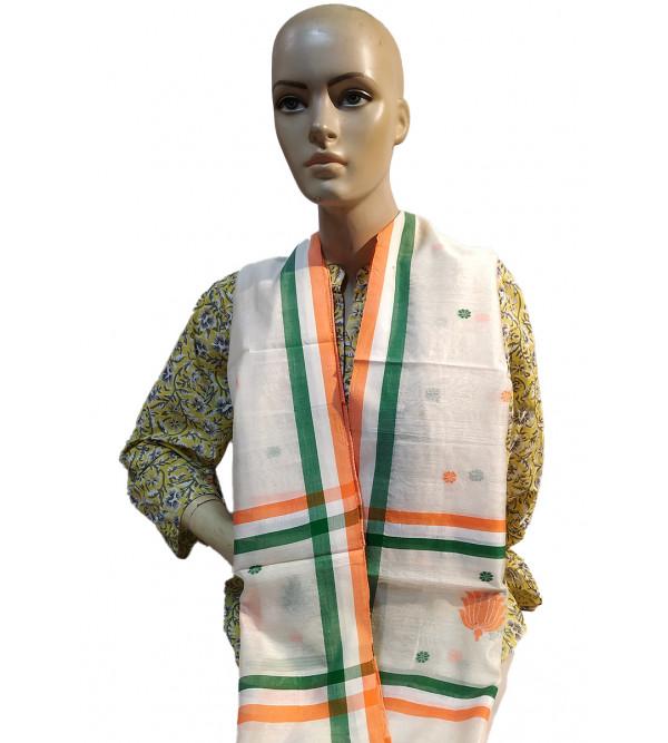 CCIC Chanderi Zari Buti Woven Stole Size 22x72 Inch