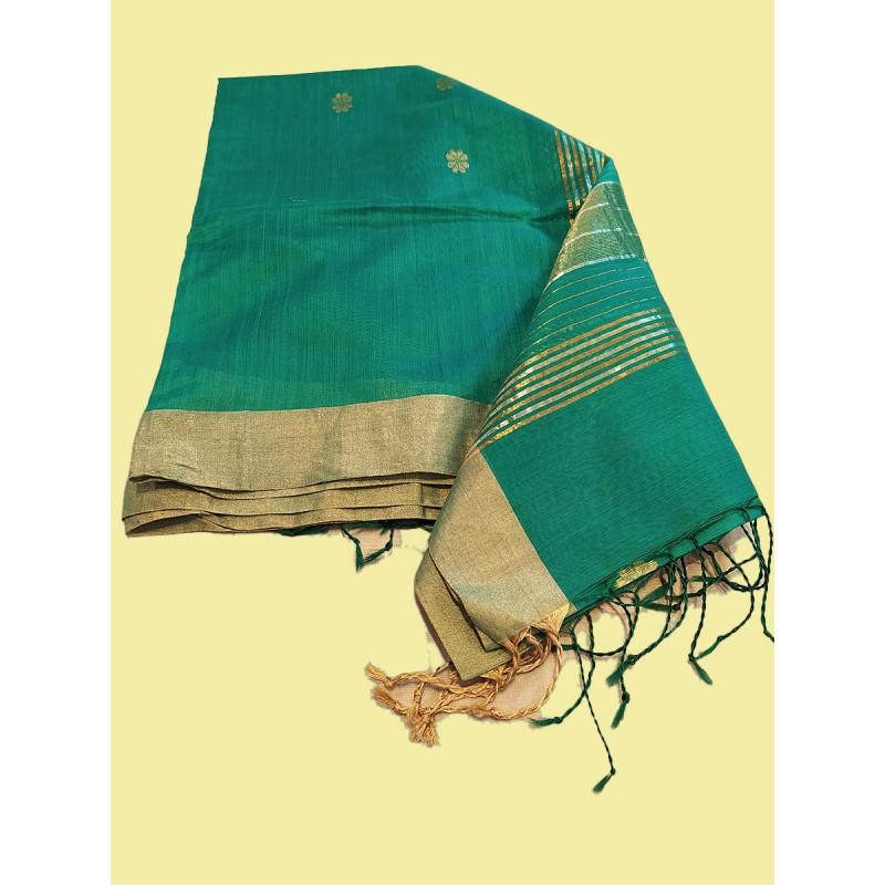 Zari Katan Silk Chanderi Handwoven Dupatta From Banaras