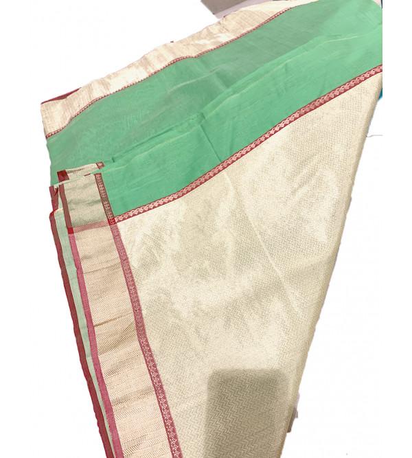 Chanderi Silk Hand Woven Zari Saree With Blouse