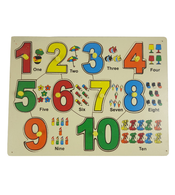 HANDICRAFT WOODEN TOYS NUMBER TRAY WITH KNOB