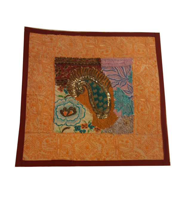 Embroidered Cotton Cushion Cover With Sitara Work Size 16x16 Inch